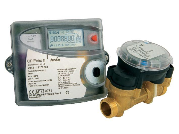 Ultradźwiękowy ciepłomierz CF ECHO II DN15 mm, przepływ 0,6 m³/h